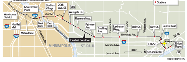 Map of Green Line Stops